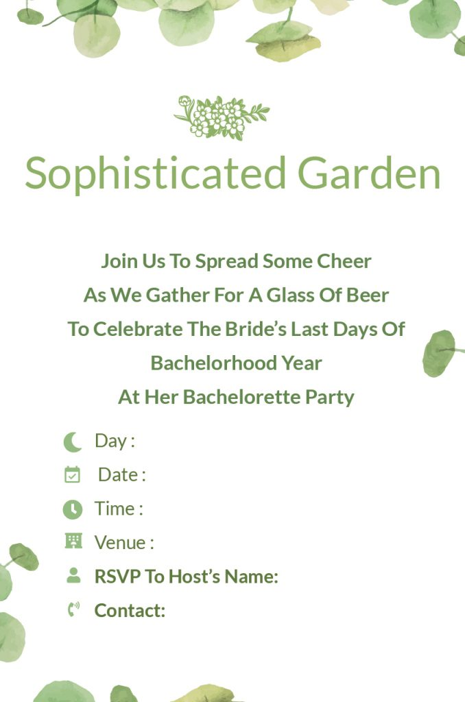 sophisticated garden - Bachelorette Party invitation wordings