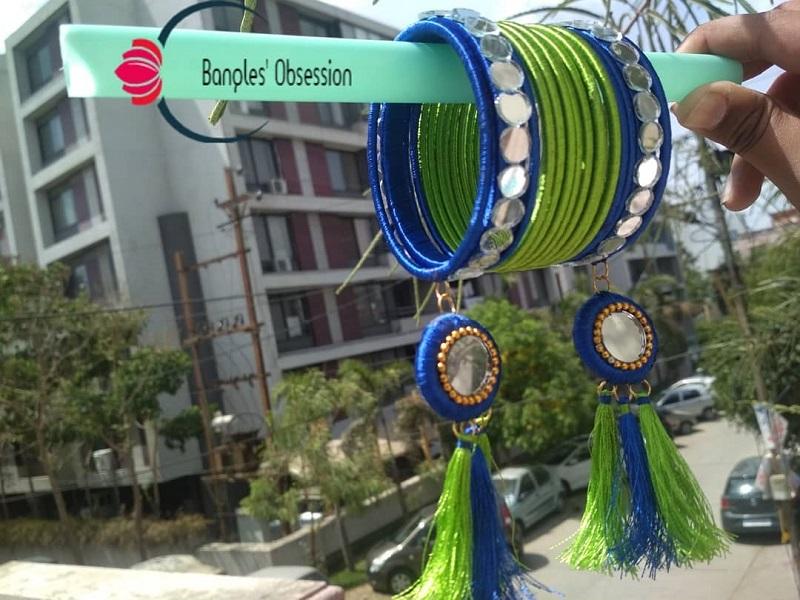 thread bangles design with latkan