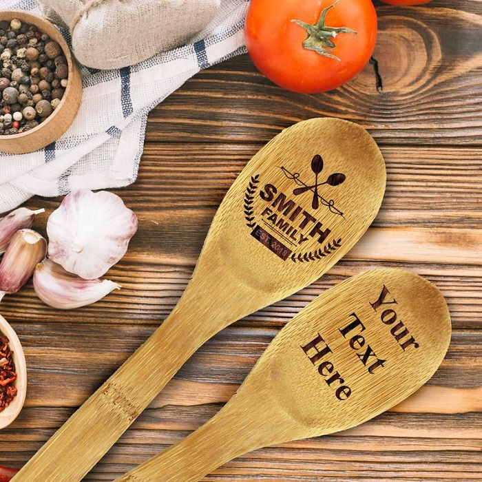 bamboo personalized spoon for mehndi favors