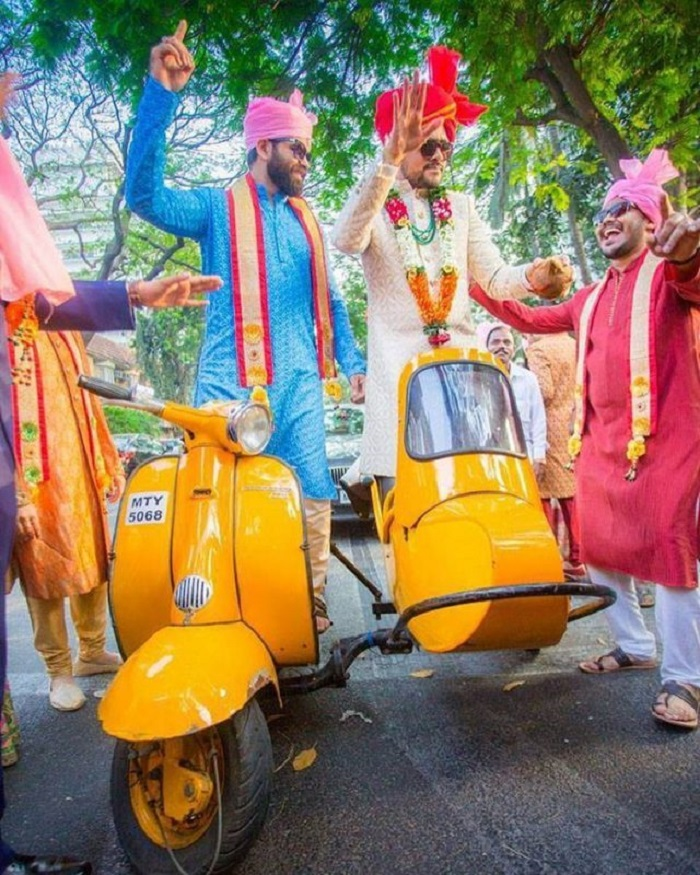 groom entry on scooter