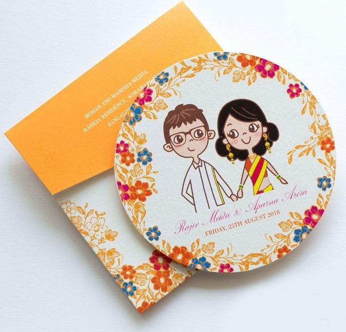 cartoon themed wedding card design