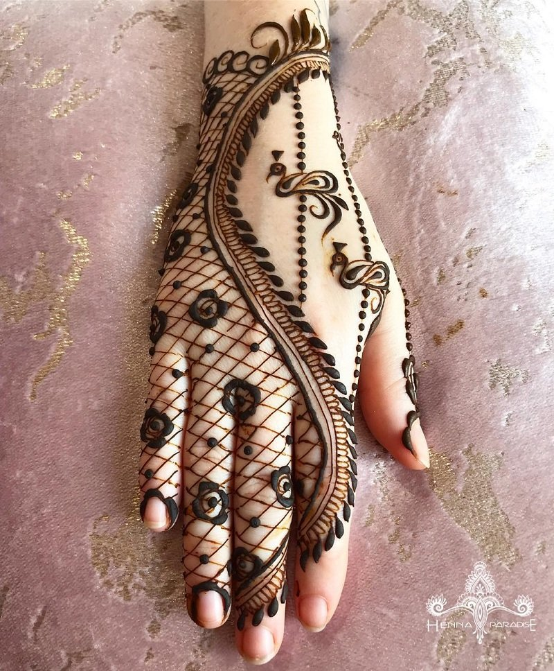Rose Jaali Design On The Back Of Your Hands On The Fingers