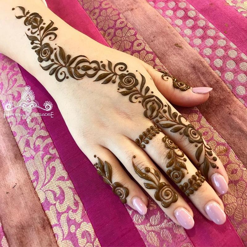 Full Rose Motif Mehendi Minimalistic Design On The Back Of The Hand