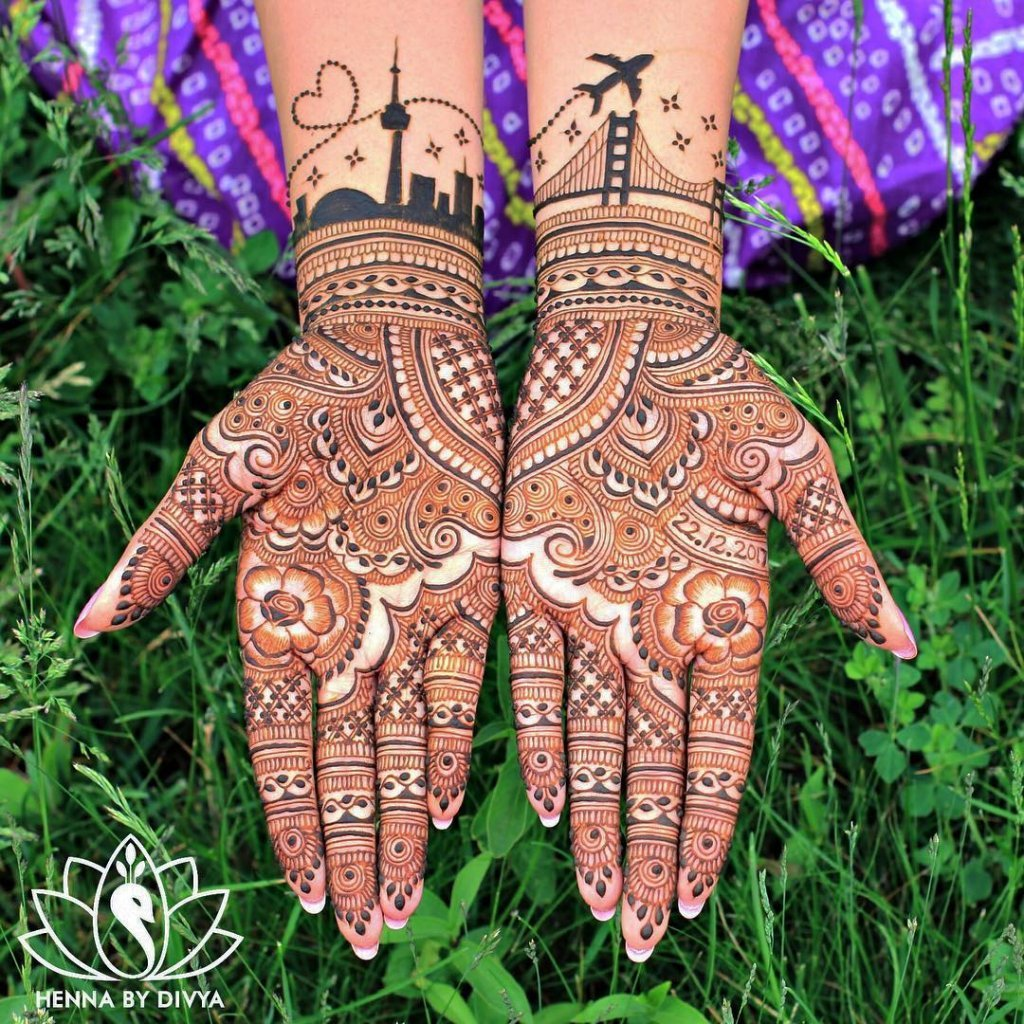 A Romantic Cityscape With Twinkling Eyes Over The Mehendi Designs