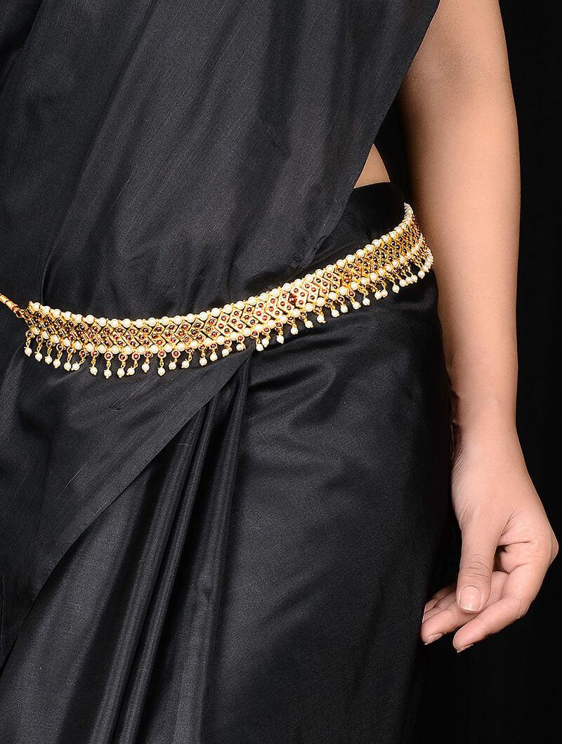 Gold And Pearl Kamar Bandh