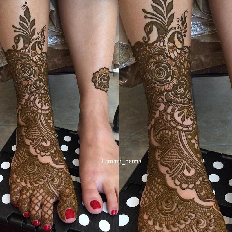 Heavy Leg  Beautiful Rose Mehendi Designs