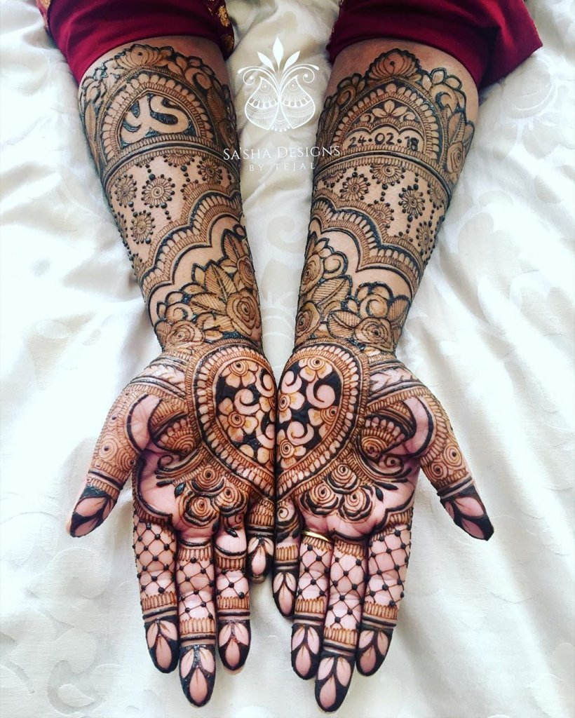 Mirror Heart Mehendi Design Filled With Flowers