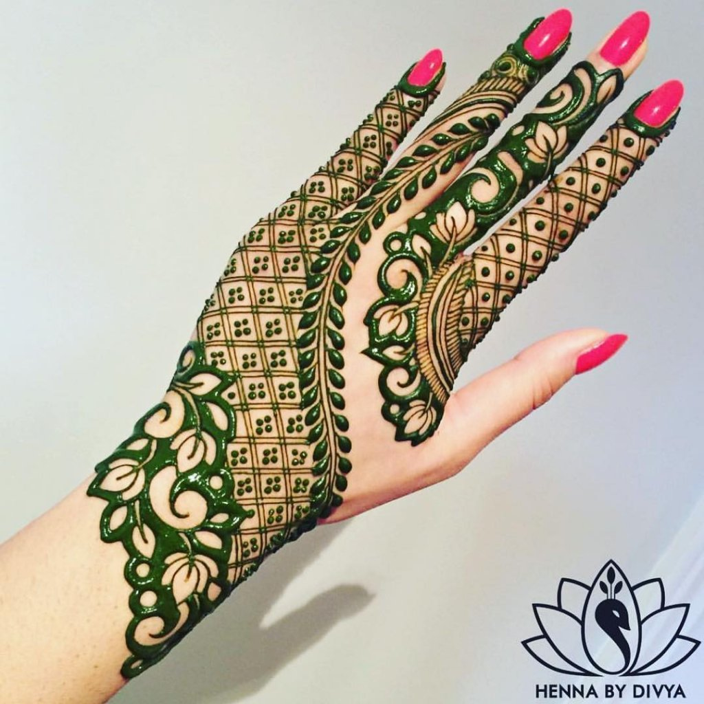 Partial Bold Leaves With Flowers In Mehendi Designs