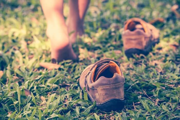Barefoot running on grass