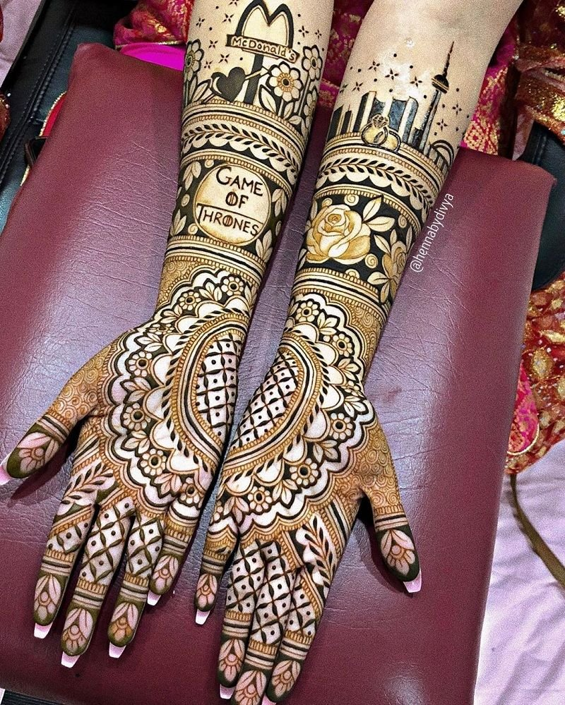 Regal Rose Jaali Mehendi Design With Cityscape At The Top