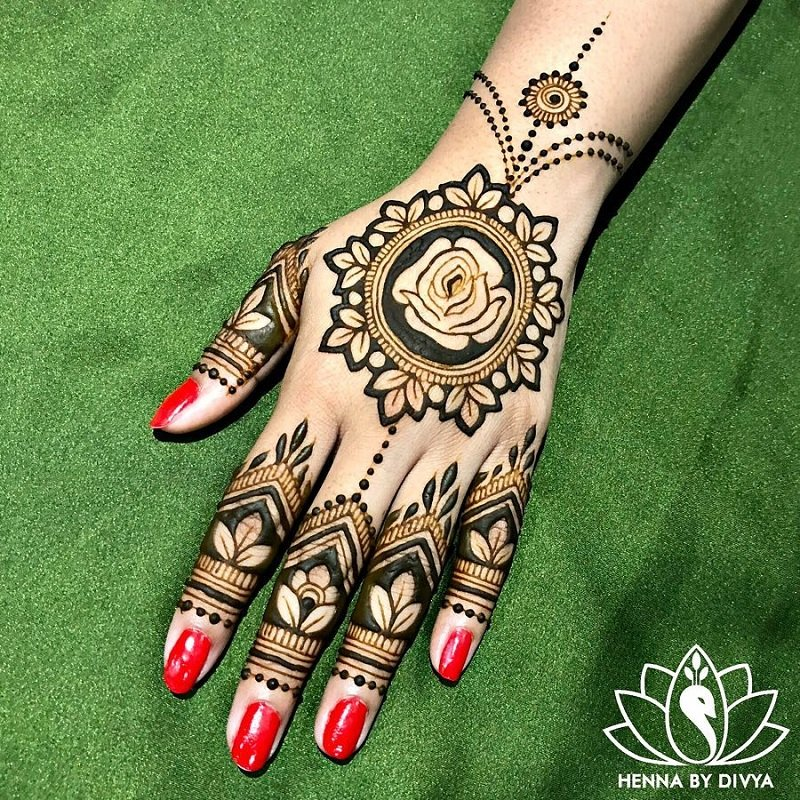 Rose Haath Phool Jewelry Mehendi Design For The Back Of Your Hand