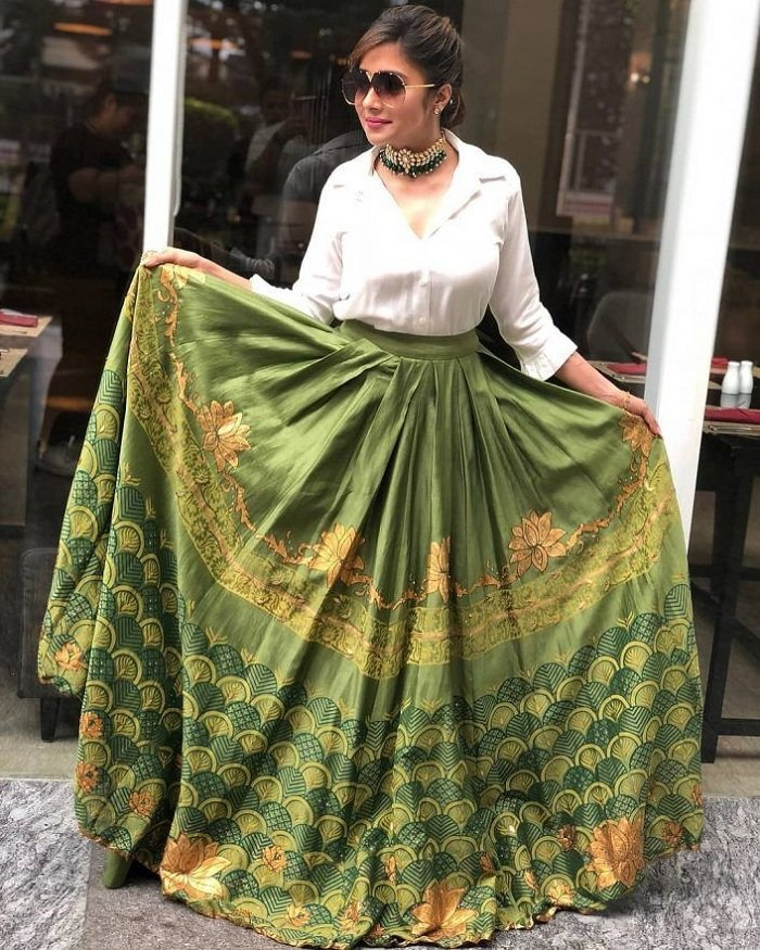 shirt with lehnga mehndi dresses
