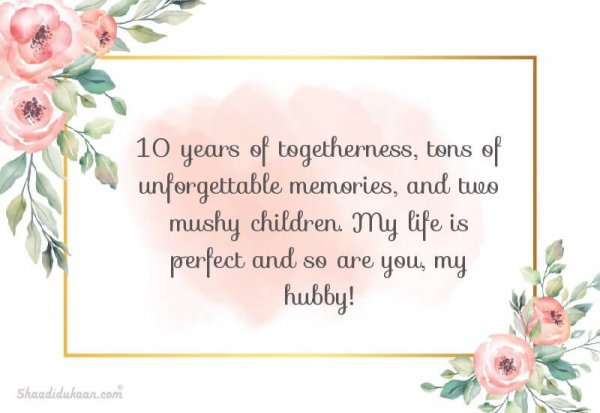 love quotes for husband on 10th anniversary