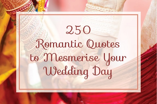 250 Exquisite Romantic Quotes to Charm Your Partner on Your Wedding Day.