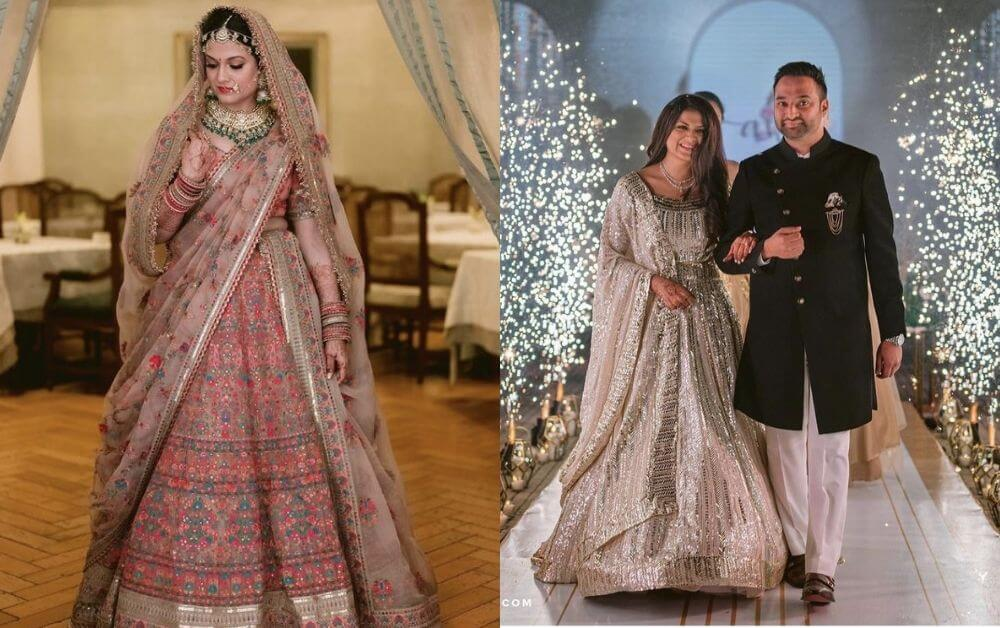 Guests Fascinated with the Sabyasachi Bride- Bridal Lehenga Turned Into Reception Wear With A Little Kink